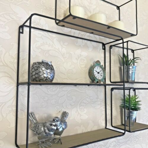 Set Of 4 Retro Wall Hanging Cubes Wood With Black Metal Wire Shelves Storage New