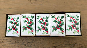 Vintage Hallmark Christmas Matches 10 Small Boxes Gold Tipped Holly Berries