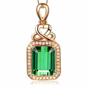 925-Silber-Halskette-Luxus-Elegante-Smaragd-Edelstein-Anhaenger-Damenschmuck-NEU