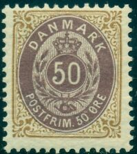 DENMARK #51a (44aa) 50ore bicolor, wmk II, inverted frame, og, NH VF, Facit $215