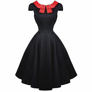 Hearts-and-Roses-London-Black-Red-Bow-50s-Vintage-Tea-Party-Dress-UK