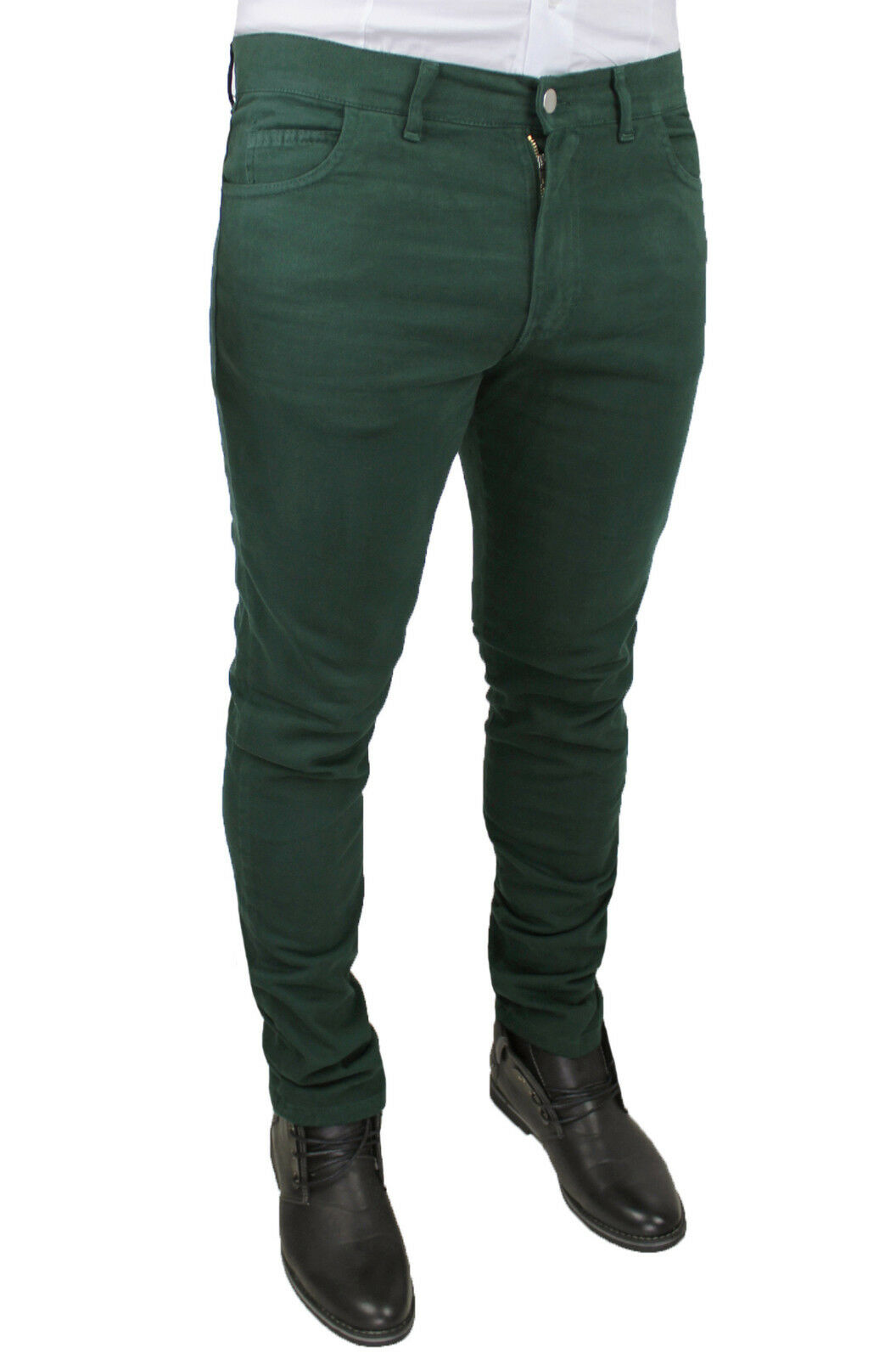 MEN'S TROUSERS BATTISTINI DARK GREEN MILITARY JEANS CASUAL WINTER MADE IN ITALY