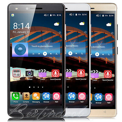 "5.0"" Unlocked Android 6.0 Quad Core Two SIM GPS 3G Mobile WIFI Phone Smartphone"