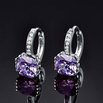 Elegant Gold Filled Princess Cut Purple Amethyst Crystal Hoop Earrings Jewelry