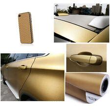"24""x25"" 3D GoldenCarbon Fiber Vinyl Car Wrap Sheet Roll Film Sticker Decal Sales"
