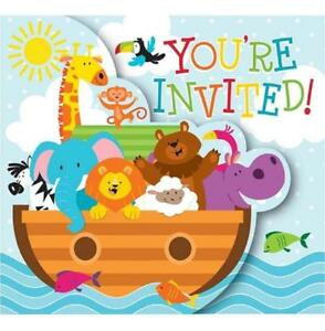 Details About Noah S Ark Cute Cartoon Animals Boat Baby Shower Party Invitations W Envelopes
