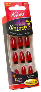 24 Kiss Halloween Costume Nails,Blood Red Design Nail ...
