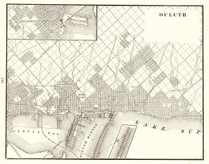 1901 Antique DULUTH Minnesota Map Vintage Map of Duluth Gallery Wall on