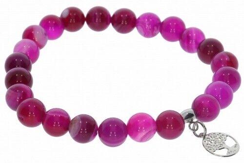 individuelle Größe AB2 Achat pink Kugel 8mm Stretch Armband /& Baum des Lebens