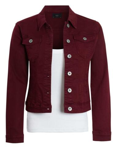 Womens Fitted Denim Jacket Ladies Stretch Berry Jean Jackets Size 6 8 10 12