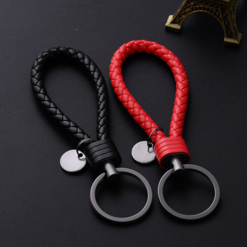 1x Vehicle Car Keychain Key Chain Key Ring Key Fob Leather Rope Strap Weave New