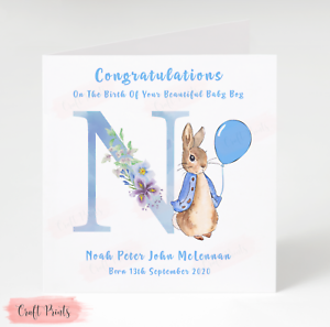 Handmade Personalised Peter Rabbit New Baby Card - Baby Boy Card
