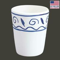 Bathroom Cup Tumbler White And Blue Nepture Ceramic   Renovator's Supply on Sale