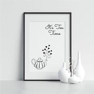 It/'s Tea Time Kitchen Food Prints Kitchen Art Poster Scandinavian Art Wall Art
