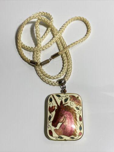 Cloisonne Unicorn Enamel Brass  Pendant Necklace V
