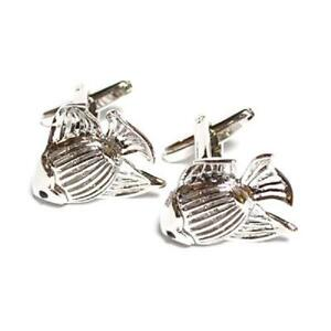 925 Solid Hallmarked Sterling Silver Fish Fishing Fisherman Cufflinks