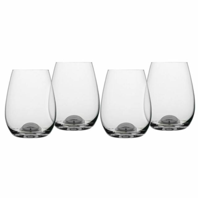 Rona - Selene Platinum Dimple Stemless Glass 460ml Set of 4 (Made in Europe)