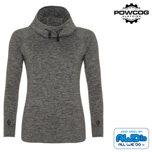 AWDIs Ladies Cool Cowl Neck Sporty Hoodie Long Sleeves Fitness Running Gym Top