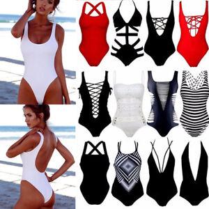 Hot-Women-One-Piece-Swimsuit-Beachwear-Swimwear-push-up-Padded-monokini-bikini-S