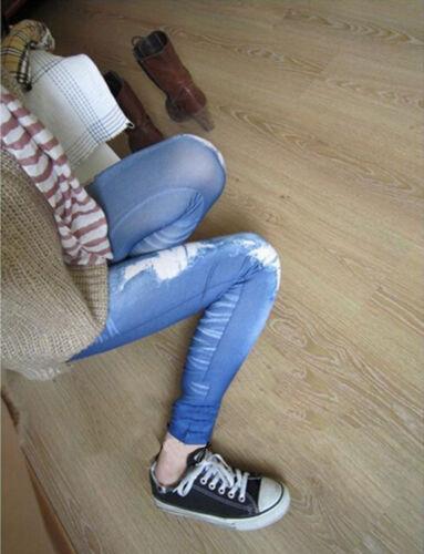 Women Ripped Denim Jean Look Skinny Leggings Slim Jeggings Trousers Fashion  Yg