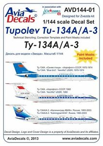 Avia Decals 1/144 Tupolev Tu-134A/A‐3. Part 1 Decals and Paint Masks
