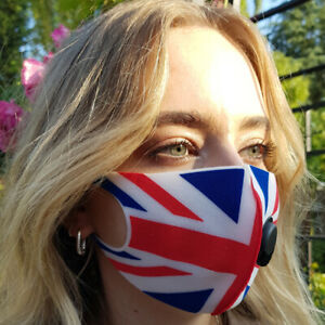 Face Mask Uk Flag Protective Covering Washable Reusable Adult Breath Valve Ebay