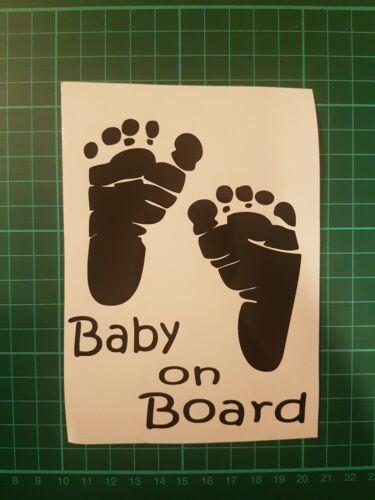Bébé à Bord Autocollant Voiture Pare Choc Autocollant Vinyle Voiture Fenêtre PIED Impressions premières étapes