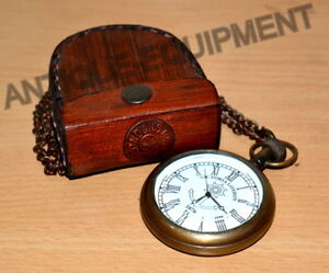 Brass Pocket Compass 1920 With Leather Box Marine Antique Collectible Vintage