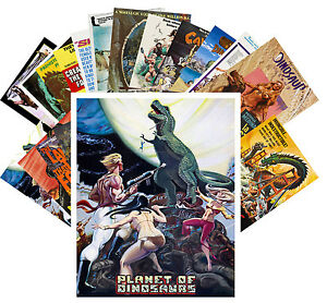 Postcards-Pack-24-cards-Dinosaur-Prehistoric-Vintage-Trash-Movie-Poster-CC1074
