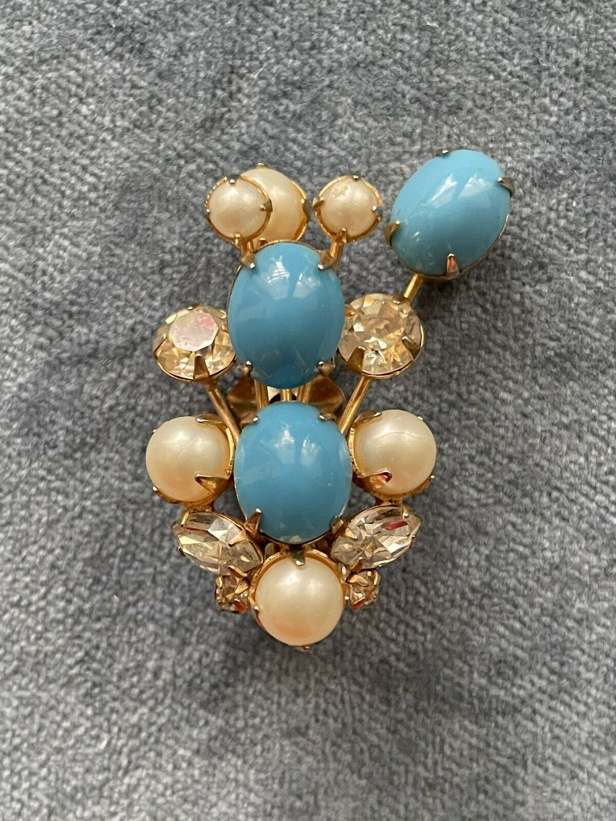 Vintage Signed Arnold Scaasi turquoise clip on ea… - image 3