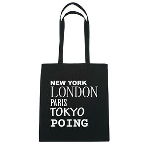 New-York-LONDON-PARIS-TOKYO-poing-Bolsa-de-yute-Color-Negro