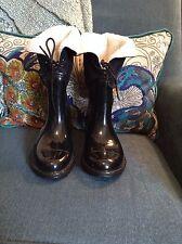 Target Womens Rain Boots Faux Fur Lined Short Black Patent Lace Up 7 M Euc