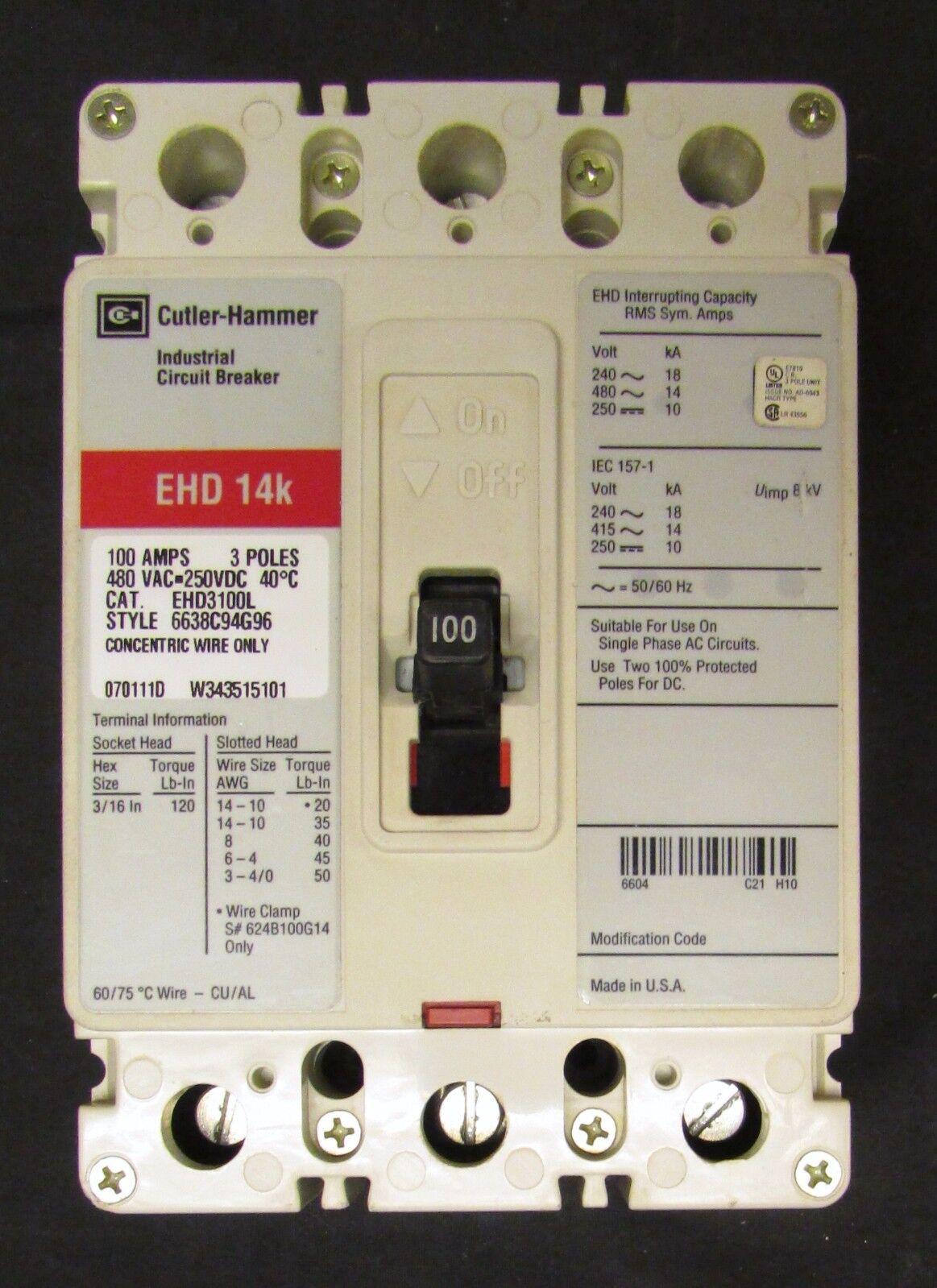 Cutler Hammer Circuit Breaker 100 Amp 3 Pole Ehd3100l Ebay Main Panel