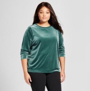 Ava /& Viv Womens Plus 4X Top Green Satin Velvet Crewneck Pullover Blouse
