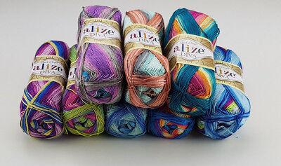 Alize Wolle Alize Diva Batik Türkische Wolle Farbverlauf Seideneffekt 100g