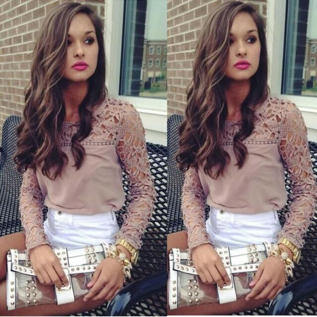 1PC Women Lace Crochet Embroidery Tops Long Sleeve Tee Shirt Casual Blouse Nice