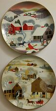 2 Collector Plates Betsy Bates 1980 and 1981 World Book annual Christmas Series