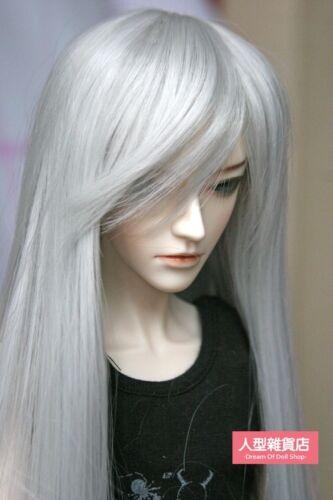 BJD Doll 1//4 7-8 Wig Long Hair Side-partings High Temperature Fiber Silver Grey