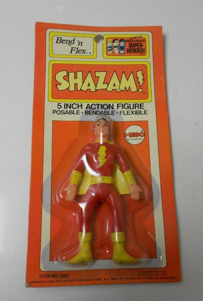 1972 MEGO World's Greatest Super héros SHAZAM Bend 'n Flex Comme neuf on Card C-8.5  1385 RARE