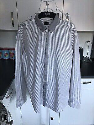 Serio Boss Hugo Boss Slim Fit Cotone Beige A Righe Camicia Taglia Xl-