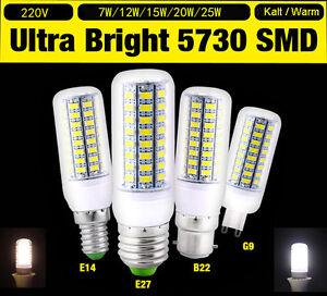 E27-E14-B22-G9-LED-Lampe-Mais-Licht-9W-15W-Gluehbirne-Birne-Leuchtmittel-Strahler