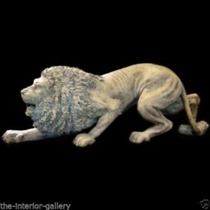 Image Is Loading Lion Statue Life Size Laying Crouching