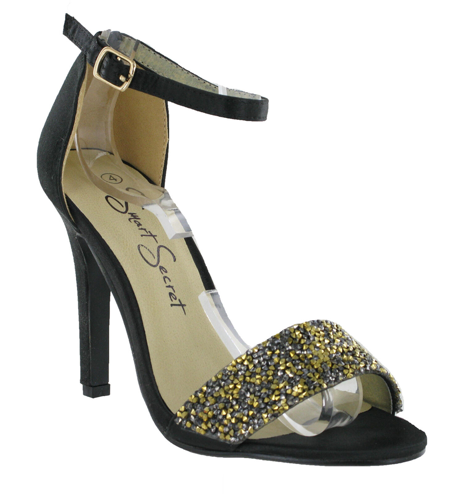 Black Satin Glitter Size Sparkling Strappy Ankle Heels Womens Shoes Size Glitter 3-8 UK 669a87