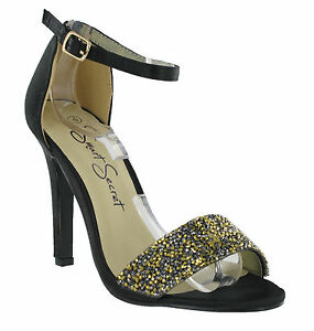 Schwarzer-Satin-Glitzer-Funkelnde-Knoechelriemen-Absatz-Damen-Schuhe-Groesse-3-8-UK