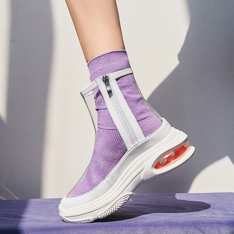 Womens high top side zip creepers trainers sports shoes transparent hot sale
