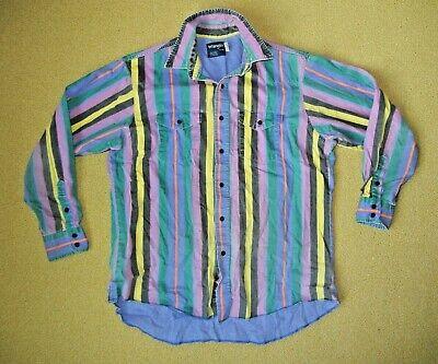 Vintage 90/'s Wrangler Cowboy Button Up Colorful Festival Fun Boho Western Aztec Pattern