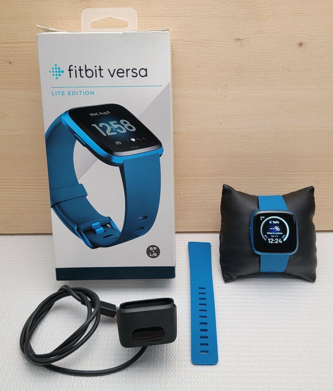 Fitbit Versa Lite Fitness Activity, Sleep, Heart Rate Tracker - Marina Blue blue fitbit fitness heart lite marina rate tracker versa