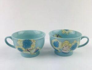 Walt-Disney-Store-Exclusive-Cinerella-Tea-Cup-Blue-Bowl-Lot-Of-2-Coffee-Soup-Mug