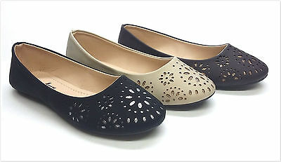 Brand New Women's Open Work Ballerina Flat Shoes  Size 5.5  - 10