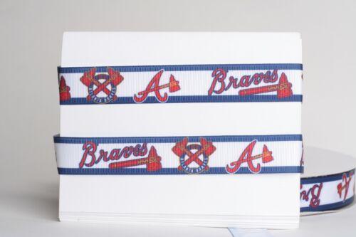 "ATLANTA BRAVES BASEBALL 7//8/"" Grosgrain Ribbon 1 10 Yards SHIP FROM USA 5 3"